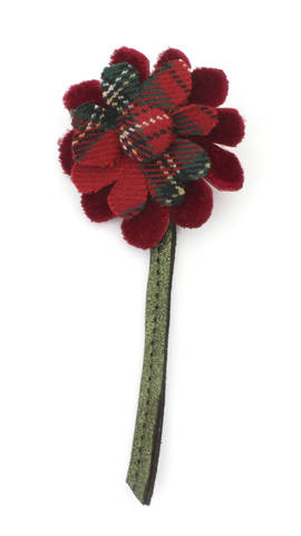 Brooch Flower Tartan red L