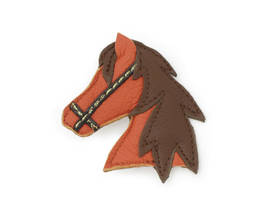 Brooch Horsehead brown-orange