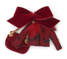 Brooch Coco Velvet red
