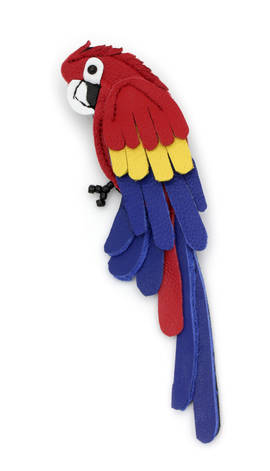Brooch Parrot red-blue