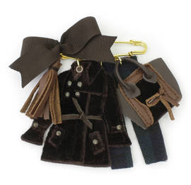 Brooch Céline Velvet brown