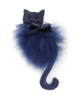 Brooch Cat blue