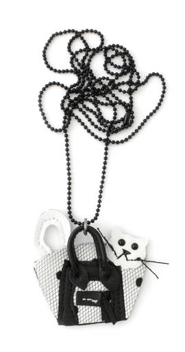 Necklace Cat in a Bag Dots black white