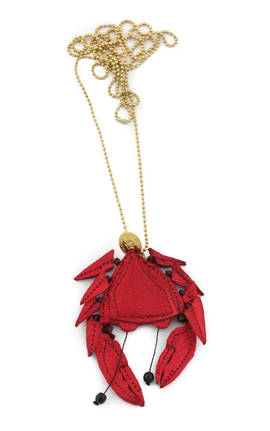 Necklace Crabe red metallic