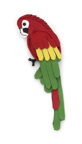 Brooch Parrot red-green